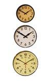 Tre orologi verticali immagine stock