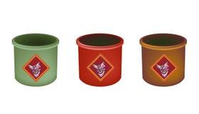 Tre ottone Joss Stick Pots su fondo bianco Fotografia Stock