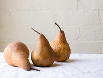 Tre päron på tabellen Arkivbild