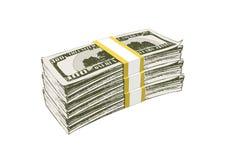 Tre pacchetti di soldi con le banconote per cento dollari illustrazione vettoriale