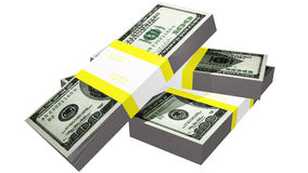 Tre packar av dollarräkningar Royaltyfri Bild