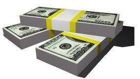 Tre packar av dollarräkningar Royaltyfri Fotografi