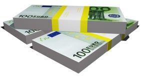 Tre packar av euroräkningar Arkivfoto