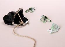 Tre paddor från hundra eurosedellås med handväskan Arkivfoton