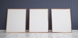 Tre pagine con il modello del manifesto che sta sul pavimento di legno royalty illustrazione gratis