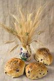 Tre pagnotte di pane verde oliva Fotografie Stock