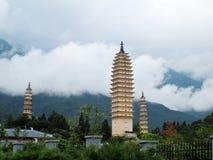 Tre Pagodas del tempiale di Chongsheng Fotografia Stock