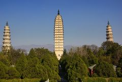 Tre pagode buddisti nella vecchia città di Dali, provincia di Yunnan, Cina Fotografia Stock
