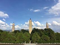 Tre pagode in Dali China Fotografie Stock Libere da Diritti