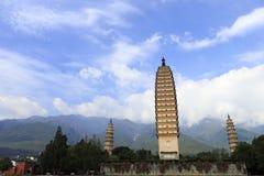Tre pagoder av Dali City, porslin Arkivfoto