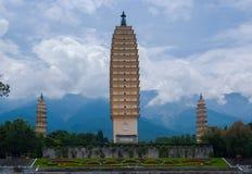 Tre pagoder, San Ta, Dali, Yunan, Kina Arkivbild