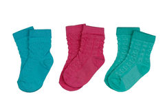 Tre paia dei calzini colorati del ` s dei bambini Fotografie Stock Libere da Diritti