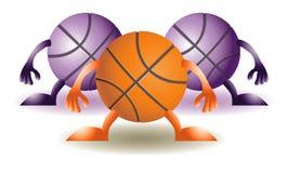 Tre pallacanestro divertenti Fotografia Stock Libera da Diritti