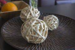 Tre palle di paglia Fotografia Stock