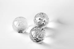 Tre palle di vetro con le bolle Fotografia Stock Libera da Diritti