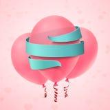 Tre palloni rosa con il nastro blu su fondo rosa royalty illustrazione gratis