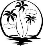Tre palme circondate dal sole e dall'acqua tirano il logo in secco in bianco e nero Fotografie Stock Libere da Diritti