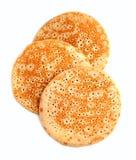 Tre pannkakor stänger sig upp Arkivbild