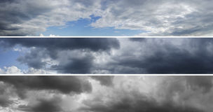 Tre panoramor av molnig himmel över horisont Royaltyfri Foto