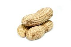 Tre parti della pila delle arachidi insieme Fotografia Stock Libera da Diritti