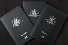 Tre passaporti australiani Immagine Stock