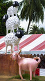 Tre pecore e capre Allevamento di pecore di Pattaya Immagini Stock