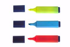 Tre penne di punta ritenuta isolate Fotografia Stock