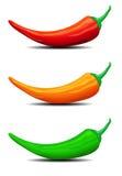 Tre peperoncini rossi, peperoni, illustrazione illustrazione vettoriale