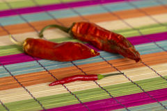Tre peperoncini rossi rossi Fotografia Stock Libera da Diritti