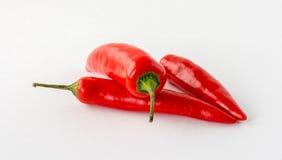 Tre peperoncini rossi rossi Fotografie Stock Libere da Diritti