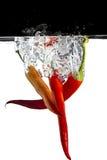 Tre peperoncini rossi rossi in acqua Fotografia Stock