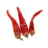 Tre peperoni di peperoncino rosso roventi su bianco Fotografie Stock Libere da Diritti