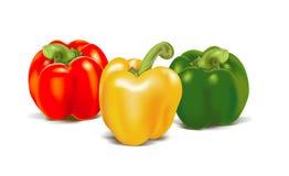 Tre peperoni dolci colorati maturi Fotografia Stock Libera da Diritti