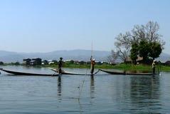 Tre pescatori Fotografie Stock Libere da Diritti