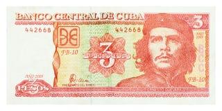 tre pesos med framsidan av Che av Kuban Arkivbild