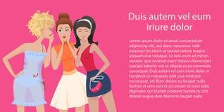 Tre pettegolezzi delle donne che stanno e che parlano Gossip delle amiche Illustrazione di vettore illustrazione vettoriale