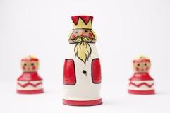 Tre pezzi degli scacchi Fotografie Stock