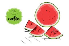 Tre pezzi del melone del fumetto e metà disegnati a mano di anguria sul pavimento di schizzo Retro distintivo dell'etichetta del  illustrazione di stock