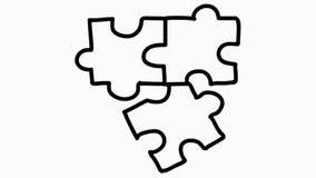 Tre pezzi di animazione del puzzle con fondo trasparente royalty illustrazione gratis
