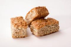 Tre pezzi di fette biscottate Immagini Stock