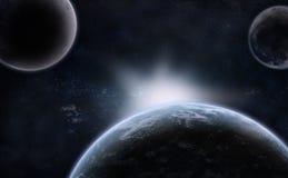 Tre pianeti sopra la nebulosa Immagine Stock Libera da Diritti