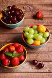Tre piatti della frutta di estate Fotografia Stock
