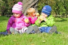 Tre piccoli bambini si siedono su uno schiarimento verde Fotografie Stock Libere da Diritti