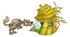 Tre piccoli maiali grande cattivo Wolf Blowing Straw House Immagini Stock