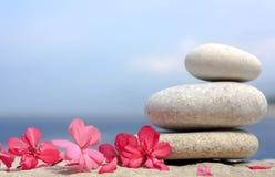 Tre pietre del ciottolo con il fiore rosa Fotografie Stock