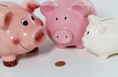 Tre piggybanks på tabellen Fotografering för Bildbyråer