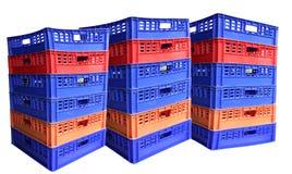 Tre pile di gabbie di plastica Immagini Stock Libere da Diritti