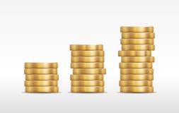 Tre pile di illustrazione brillante dorata delle monete Fotografie Stock Libere da Diritti