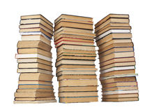 Tre pile di libri su priorità bassa bianca Fotografie Stock Libere da Diritti