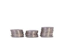 Tre pile di monete ucraine d'argento Fotografia Stock Libera da Diritti